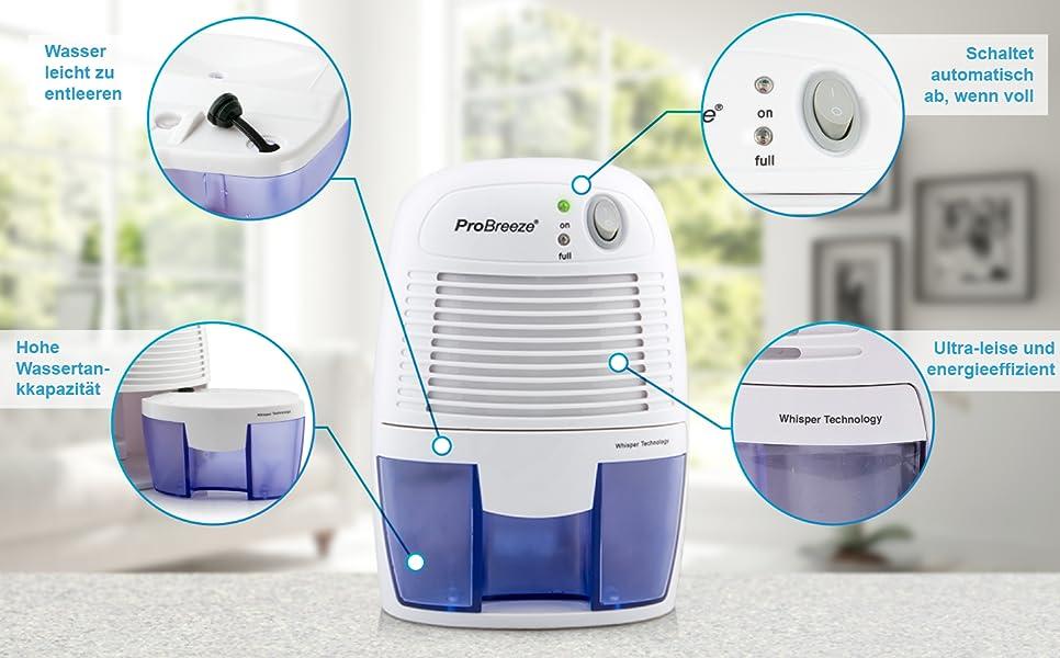 pro breeze 500ml kompakter und tragbarer mini luftentfeuchter gegen feuchtigkeit schmutz und. Black Bedroom Furniture Sets. Home Design Ideas