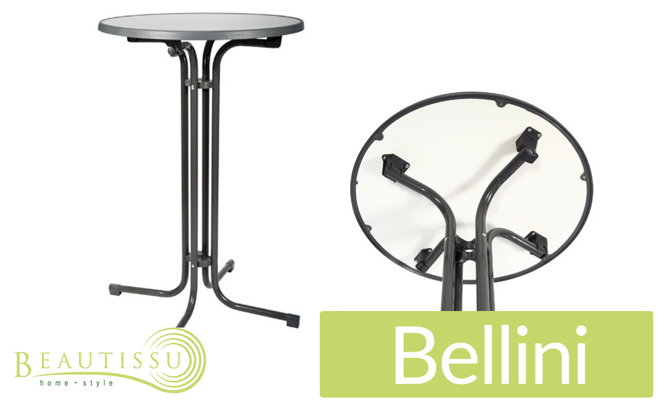 beautissu bellini stehtisch rund klappbar 80 cm grau bistrotisch klapptisch wackelt nicht. Black Bedroom Furniture Sets. Home Design Ideas