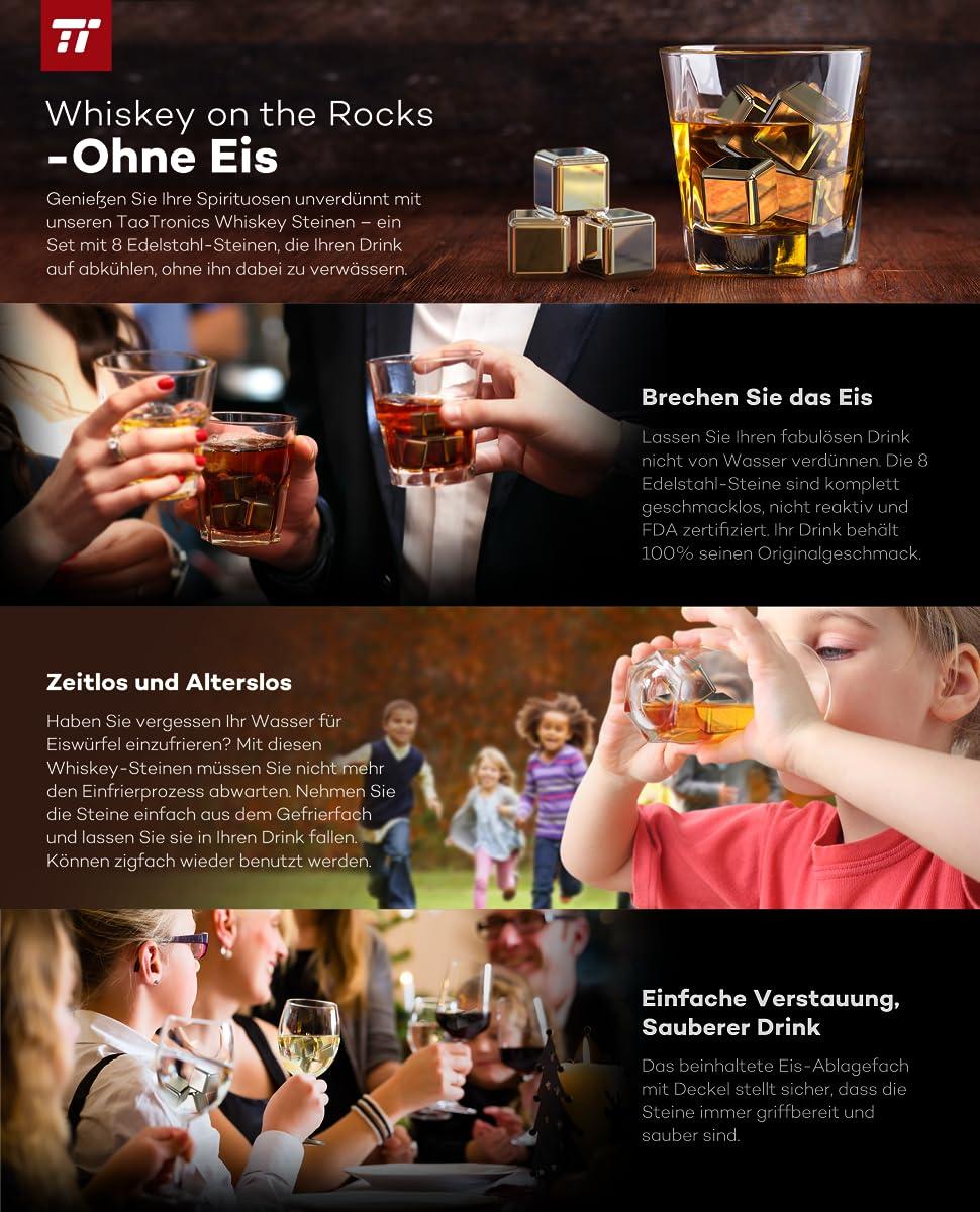 TaoTronics TT-HP005 Edelstahl Eiswürfel Stein Kühl Whiskey Wein BPA-frei 8 Stück