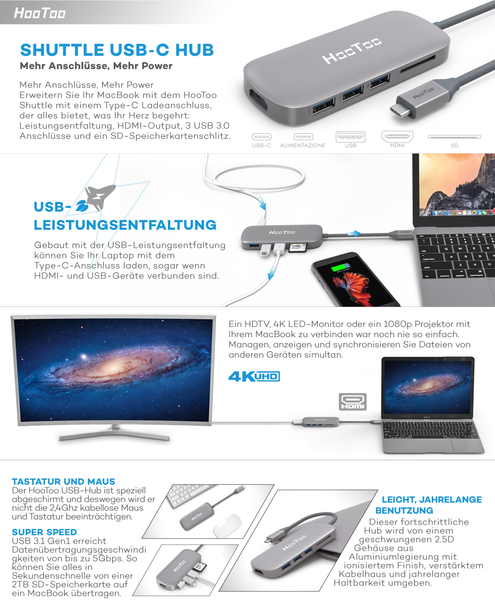 HooToo USB-C Hub Type-C Hub mit drei USB 3.0: Amazon.de ...