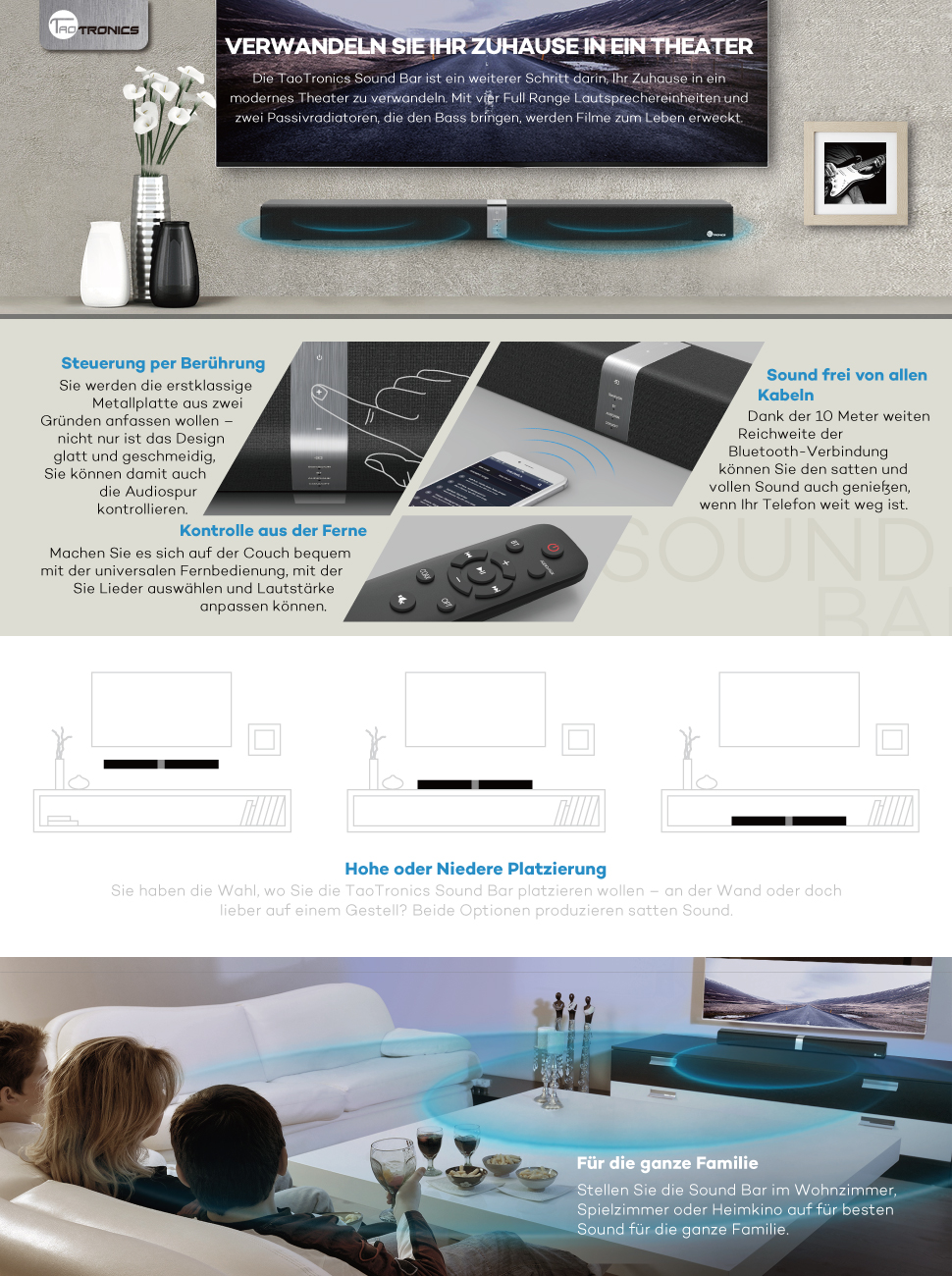 TaoTronics TT-SK15 Soundbar, Bluetooth, 4 Aktive: Amazon.de: Elektronik