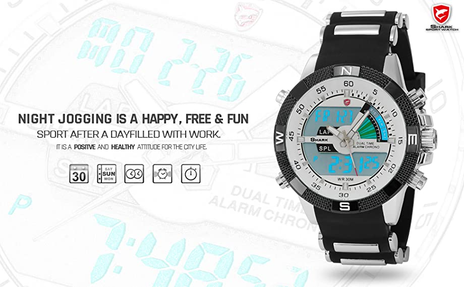 shark dual lcd digital armbanduhr xxl sh041 uhren. Black Bedroom Furniture Sets. Home Design Ideas