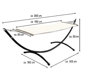 h ngemattengestell komplettset h ngematte aus baumwolle in beige inkl stabilem. Black Bedroom Furniture Sets. Home Design Ideas