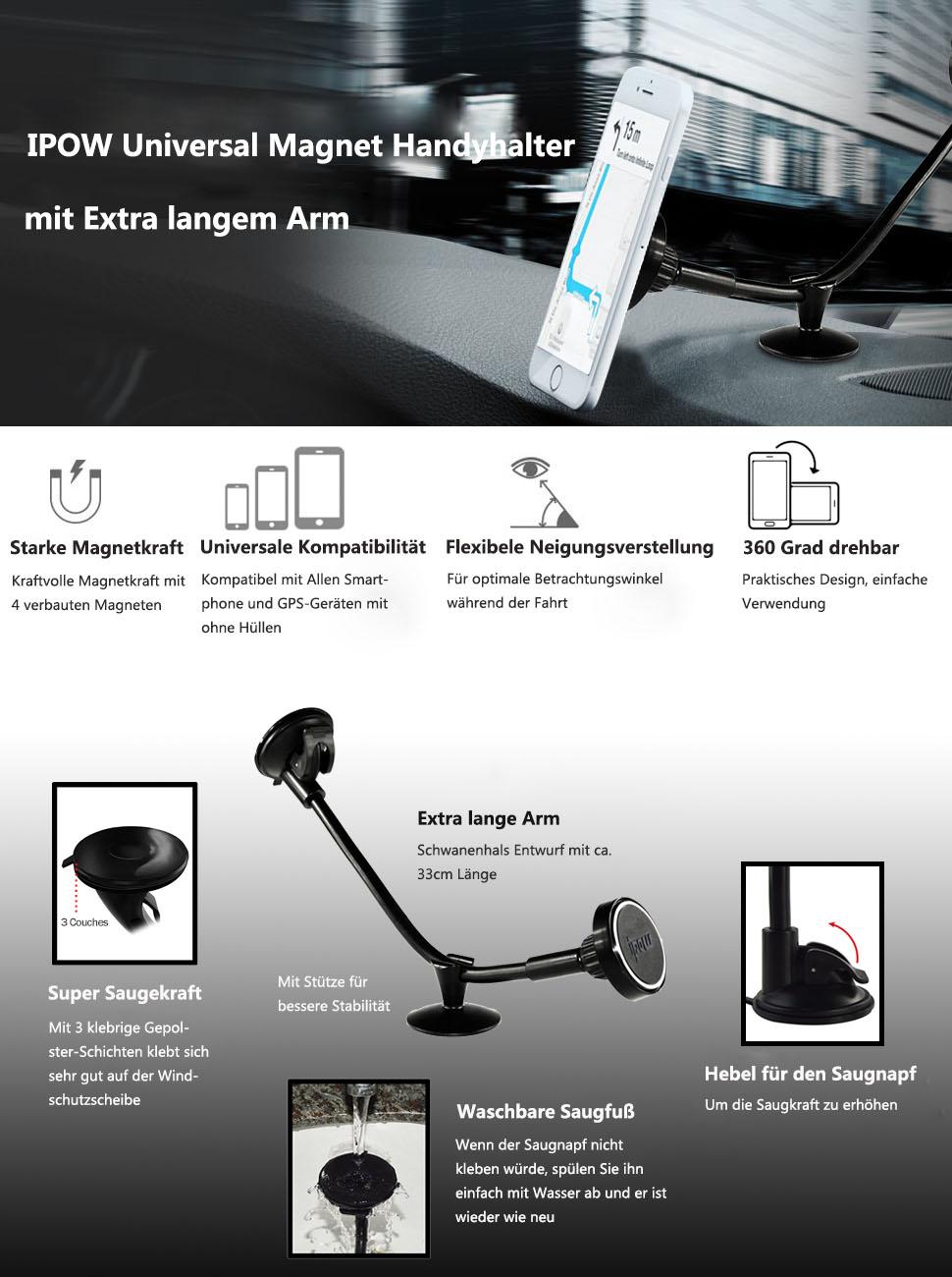 ipow magnetische handyhalterung universal auto kfz. Black Bedroom Furniture Sets. Home Design Ideas