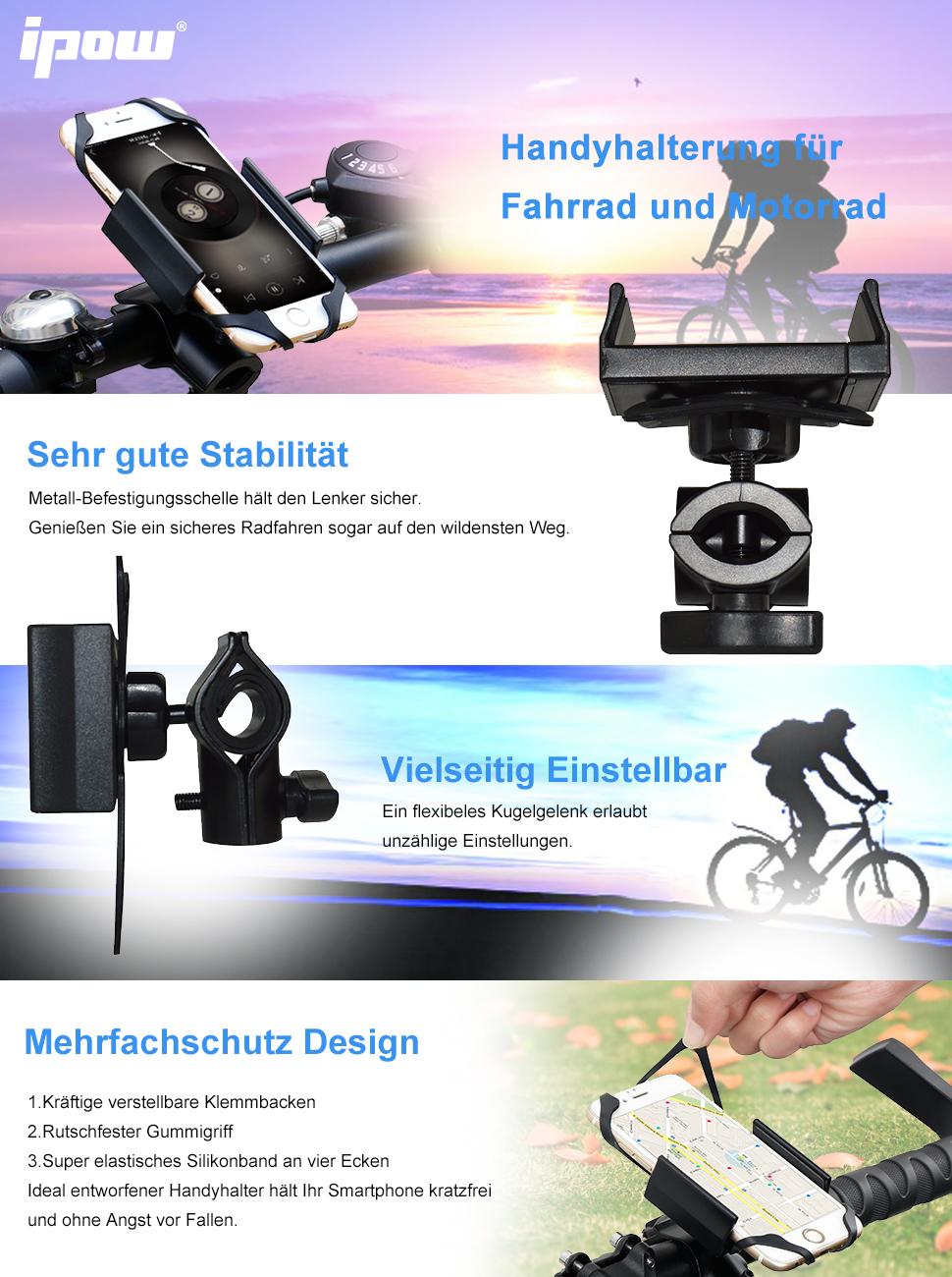 Ipow® Universal Fahrrad Handyhalterung mit Metall Sockel