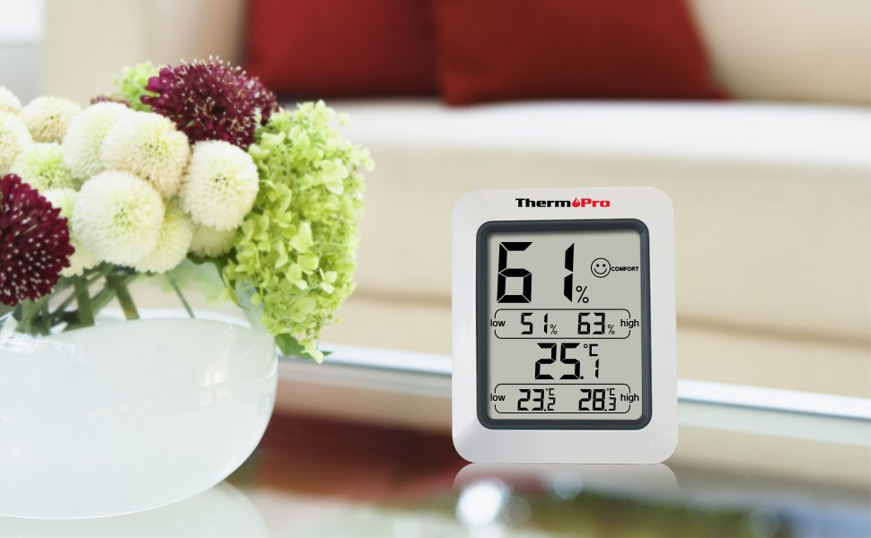 thermopro tp50 digitales thermo hygrometer thermometer raumklimakontrolle wei ebay. Black Bedroom Furniture Sets. Home Design Ideas