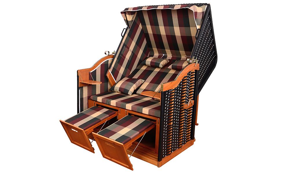 xinro xy 54 balkon strandkorb rot gr n karo inkl luxus strandkorb schutzh lle. Black Bedroom Furniture Sets. Home Design Ideas