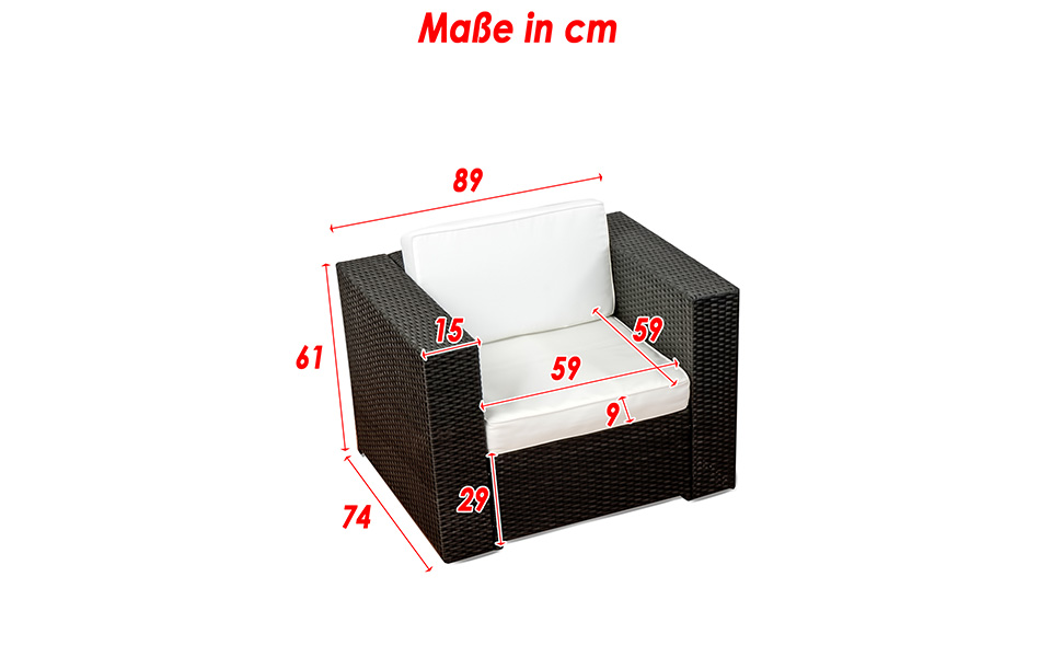 Amazon.de: (1er) Polyrattan Lounge Möbel Sessel schwarz ...