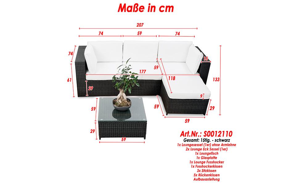 loungemobel aus polyrattan xinro erweiterbares 15tlg balkon polyrattan