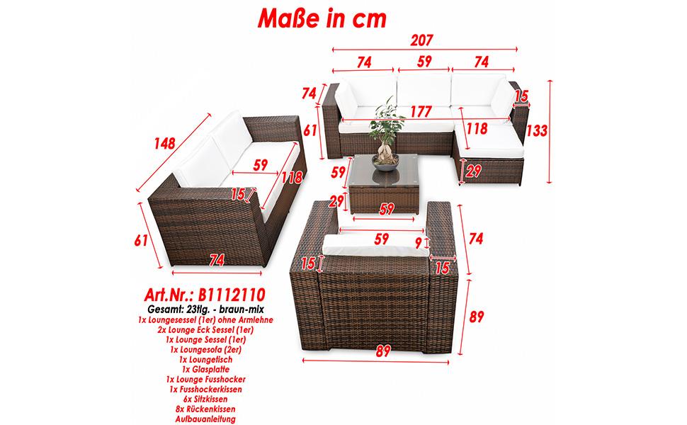 Amazon.de: XINRO® erweiterbares 23tlg. Polyrattan Lounge Möbel Set ...