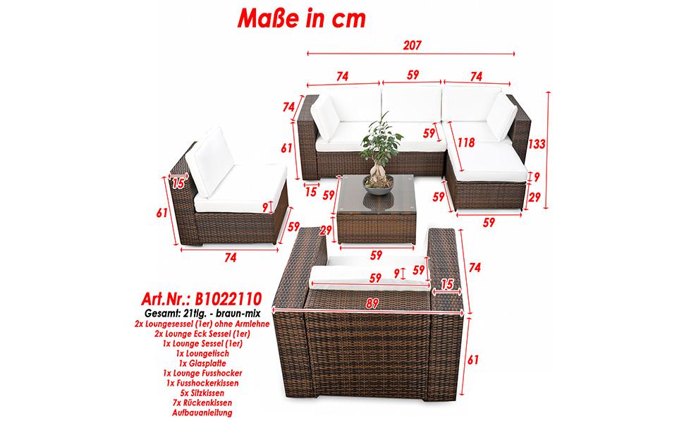 Amazon.de: XINRO® erweiterbares 21tlg. XXXL Lounge Gartenmöbel ...