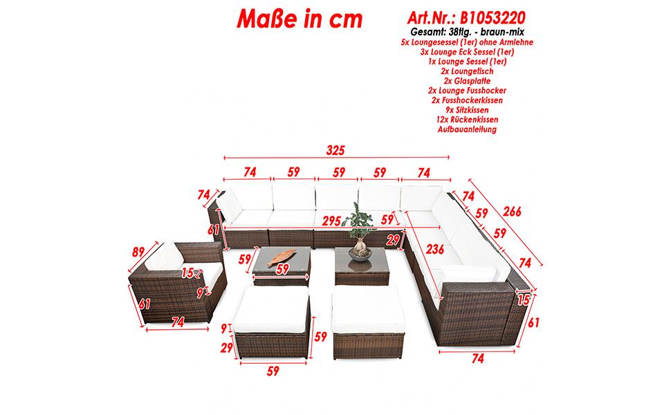 xinro erweiterbares 38tlg lounge m bel set ecksofa polyrattan braun mix. Black Bedroom Furniture Sets. Home Design Ideas