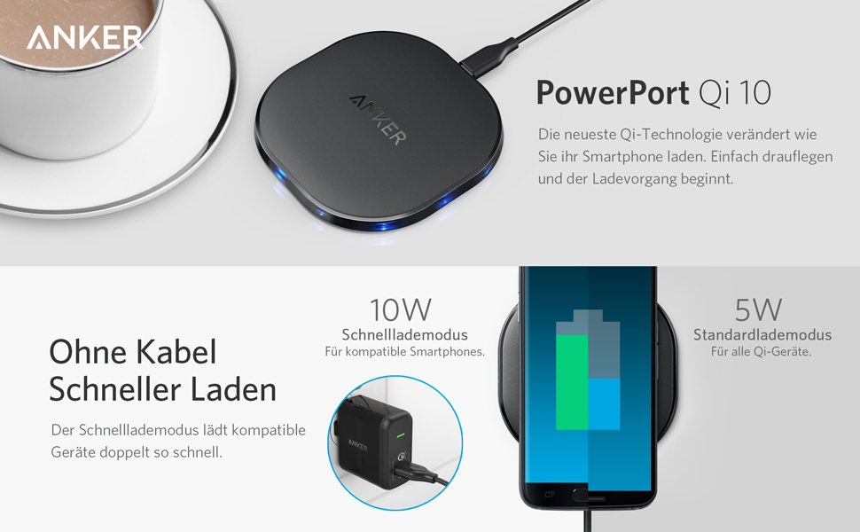 anker powerport10 10w qi ladeger t wireless charger. Black Bedroom Furniture Sets. Home Design Ideas