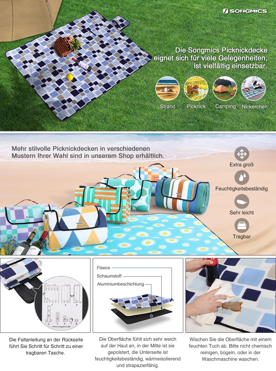 songmics 200 x 200 cm xxl picknickdecke fleece wasserdicht gcm71l garten. Black Bedroom Furniture Sets. Home Design Ideas