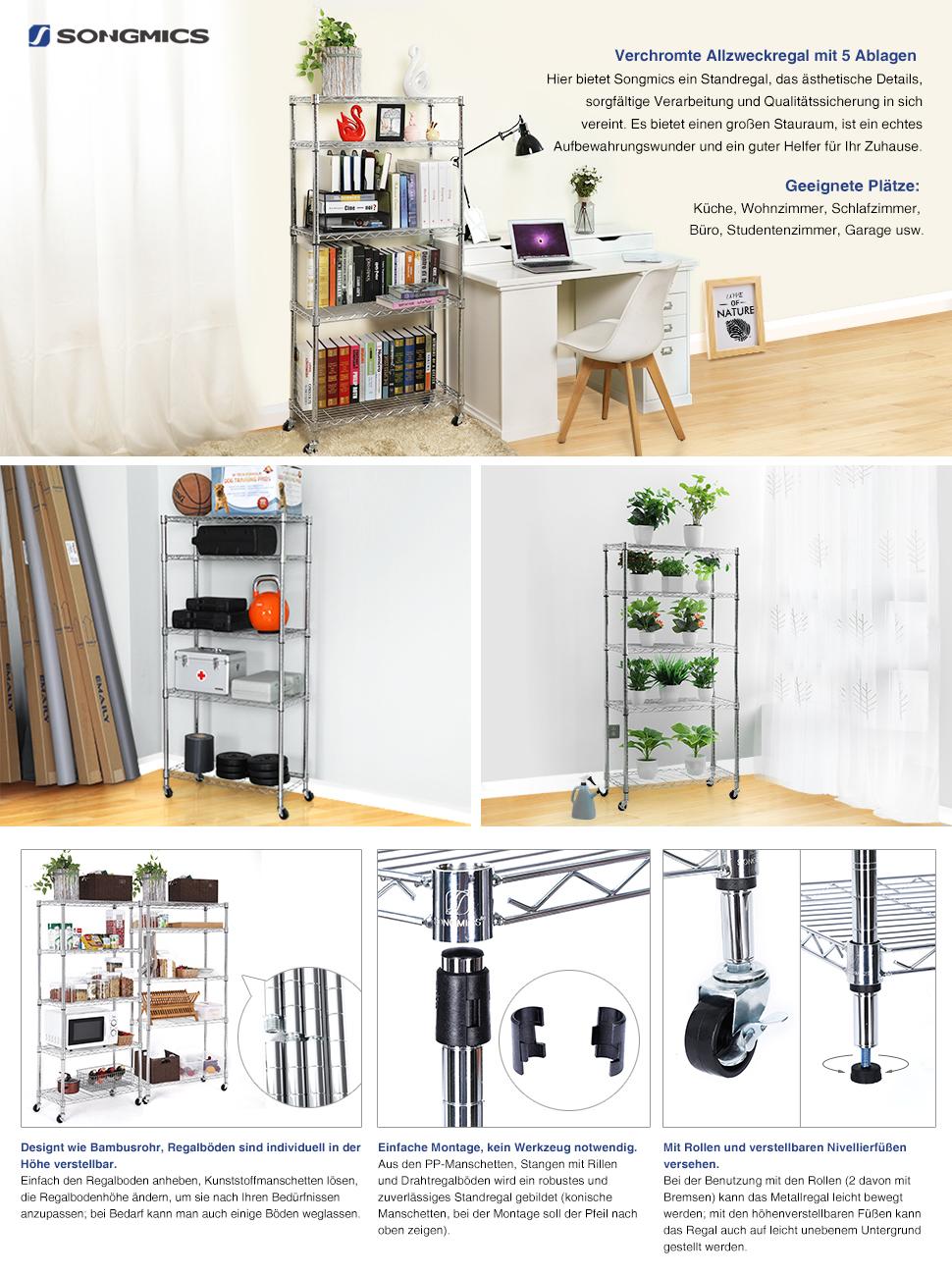 Amazon.de: SONGMICS Küchenregal Standregal mit 5 Regalböden, Super ...