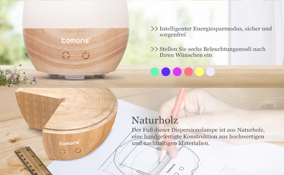 tomons aroma diffuser aus echtholz aromatherapie diffusor f r therische le mit integrierter. Black Bedroom Furniture Sets. Home Design Ideas