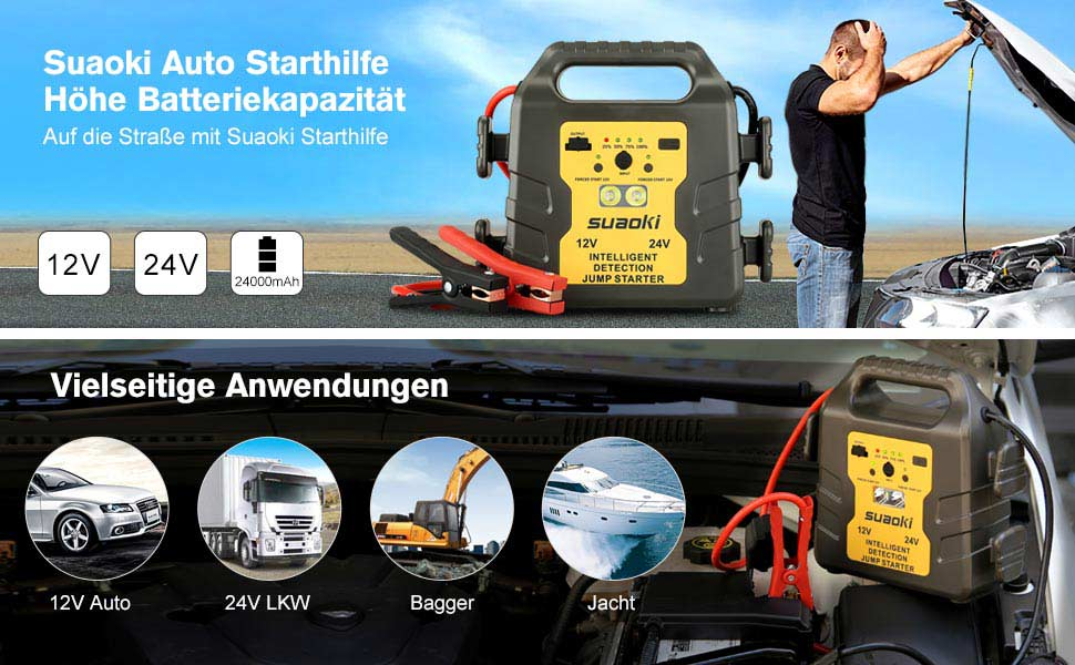 Auto Kühlschrank Mit Akku : Suaoki auto starthilfe 1000a spitzenstrom 24000mah 12v 24v