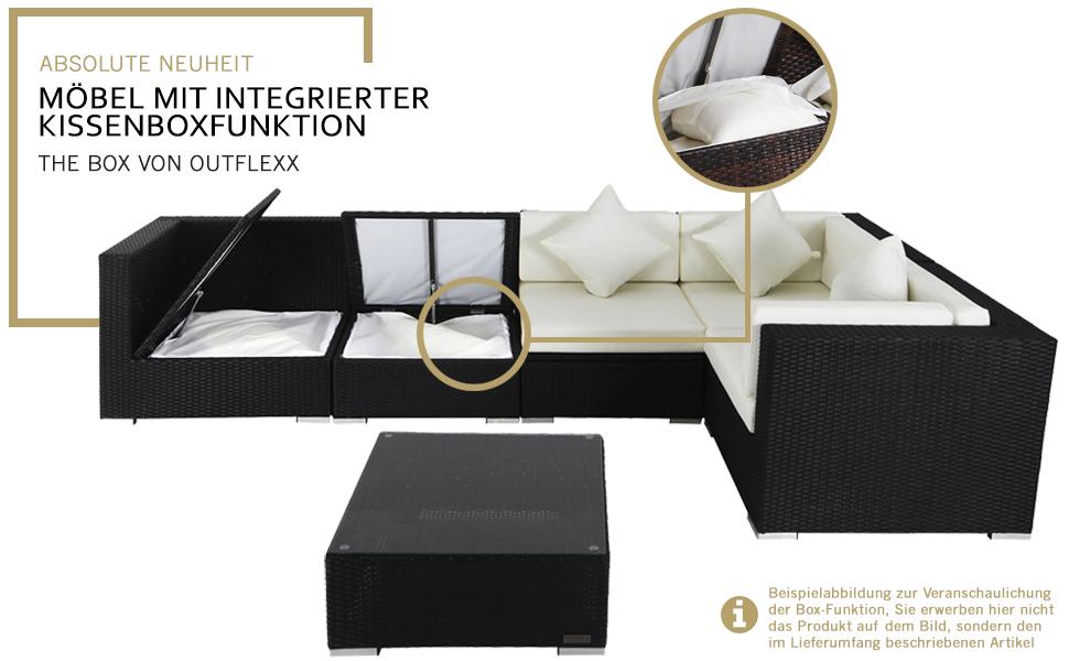 OUTFLEXX Loungemöbel-Set, Polyrattan, braun marmoriert, inkl ...