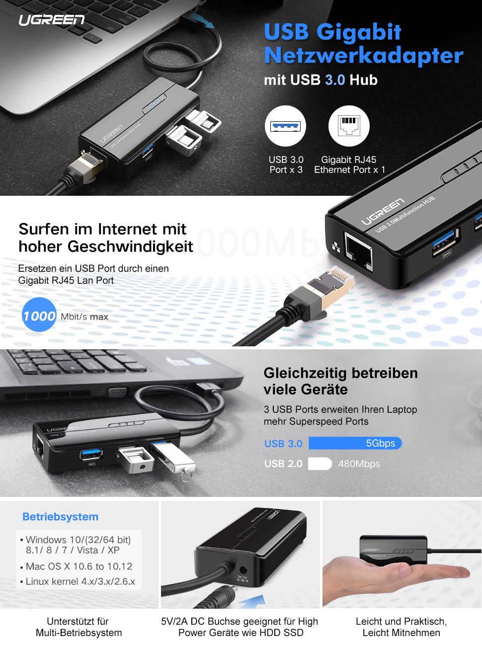 UGREEN USB 3.0 Hub 3 Port mit Gigabit Netzwerkadapter: Amazon.de ...