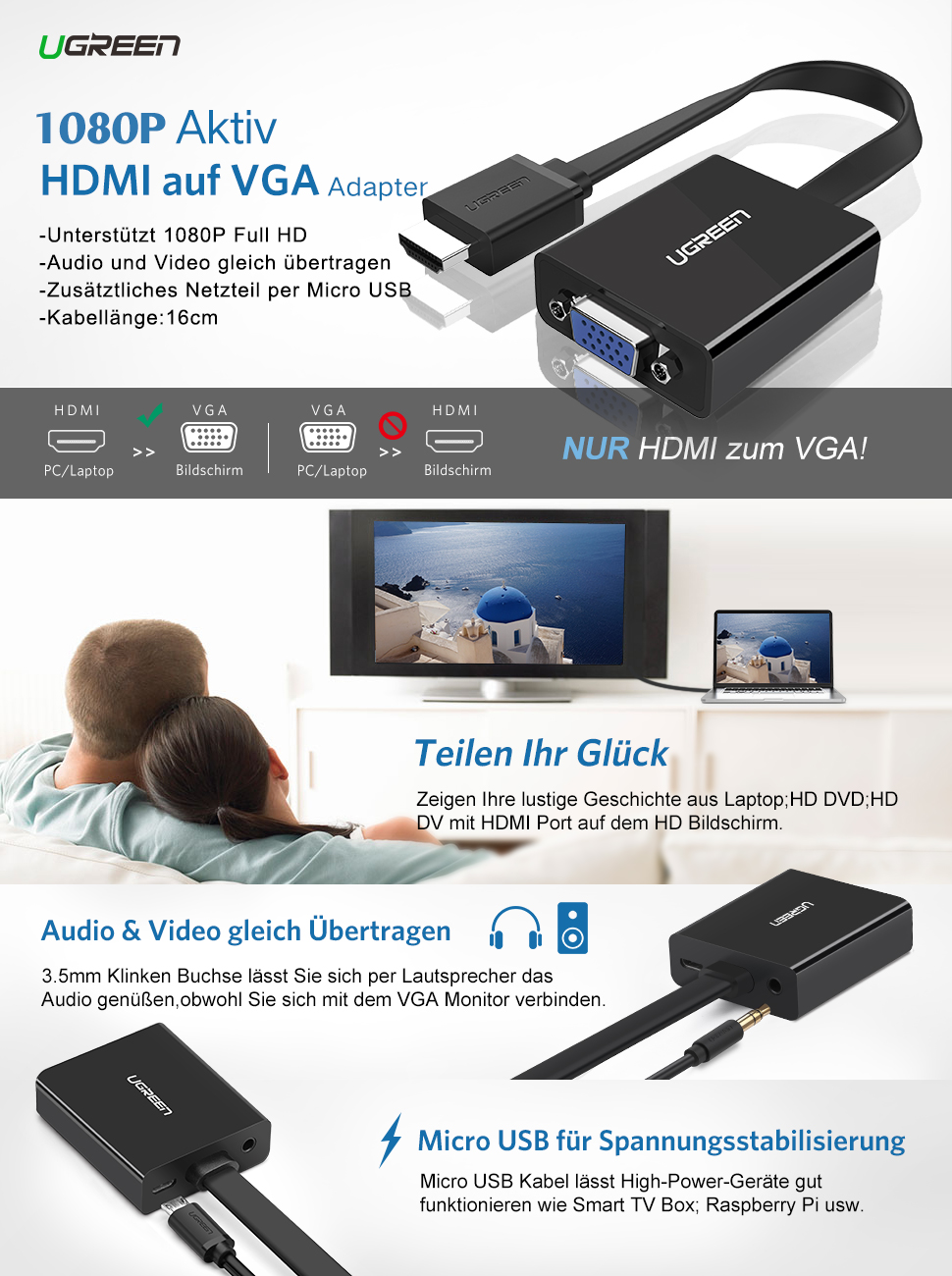 UGREEN HDMI auf VGA kabel Adapter 1080P HDTV Aktiv: Amazon.de ...