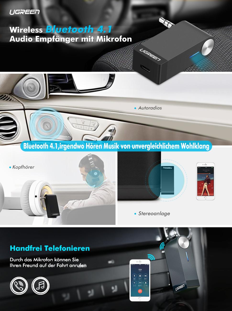 UGREEN Bluetooth Adapter Aux Bluetooth Empfänger Auto 4.1 Audio ...