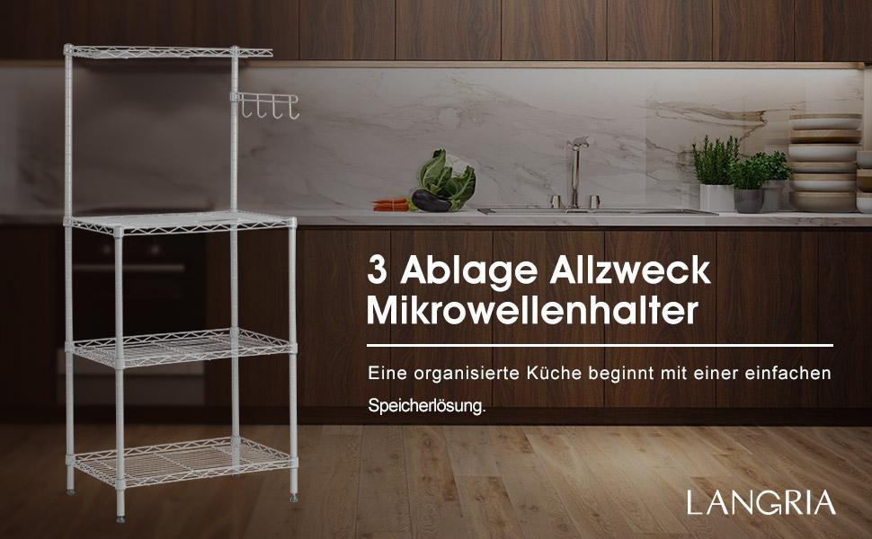 Langria mikrowellenhalter küchenregal 3 ablage regal bäcker regal ...