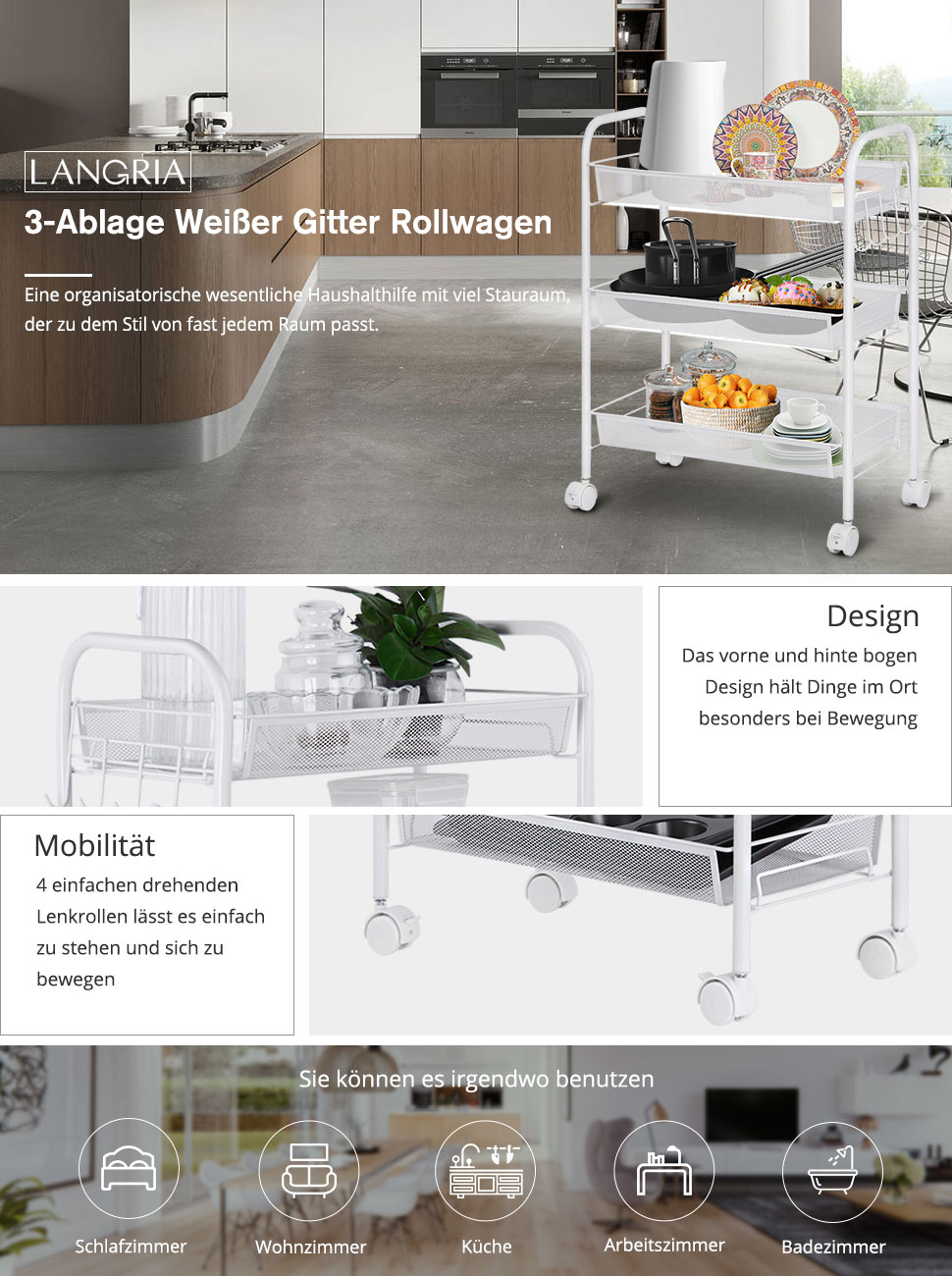 Tolle Weiße Küche Wagen Amazon Ideen - Küchen Design Ideen ...