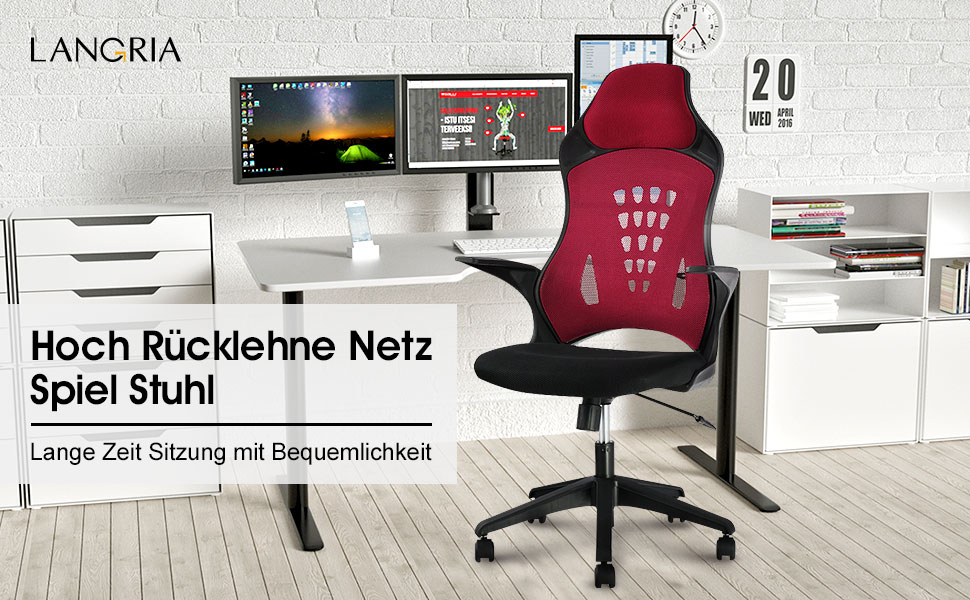 langria b rostuhl netz r cklehne gaming chair h henverstellbar schreibtischstuhl wippfunktion. Black Bedroom Furniture Sets. Home Design Ideas