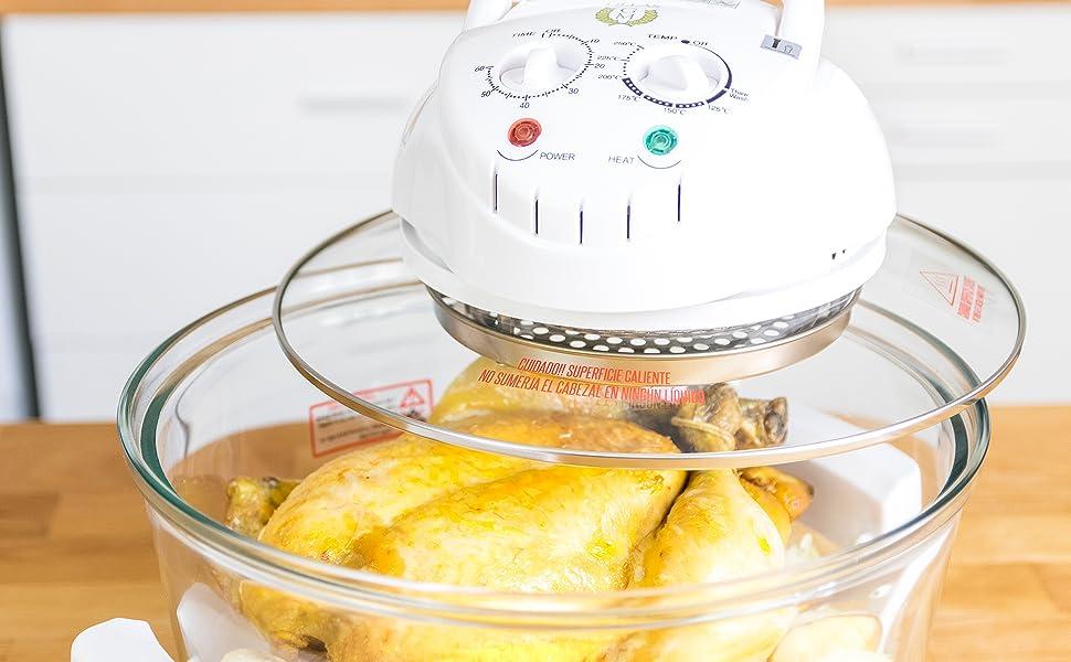 El Horno Combi Grill de Ollas GM es un horno de convección portátil que te permite cocinar, hervir, asar, cocer, hornear, deshidratar, descongelar, ...