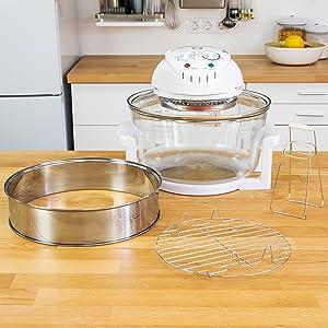 ... pinzas y al aro extensor, podemos cocinar sin mezclar sabores. Además, contiene un aro extensor que aumenta la capacidad a 12 l. Esto permite al Horno ...