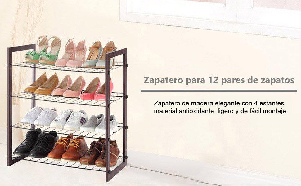 Storagemaniac zapatero para 12 pares de zapatos con 4 for Zapatero para 30 pares de zapatos
