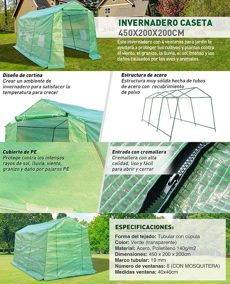 Homcom invernadero caseta 450x200x200 acero y plastico for Estructura vivero