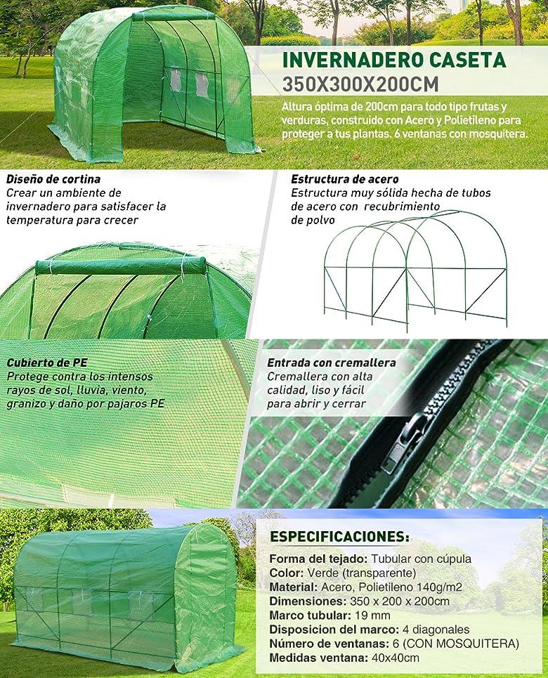 Altura óptima de 200 cm para todo tipo frutas y verduras. Este invernadero 350 x 200 x 200 cm esta construido con Acero y. Polietileno para proteger a tus ...