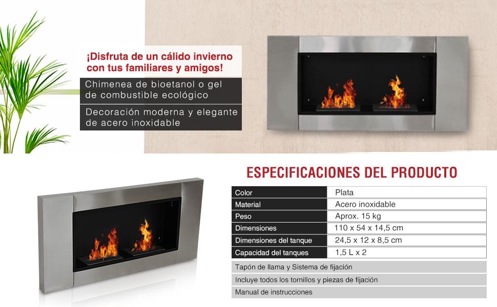 Chimenea de pared bioetanol 110x54x14 39 5cm acero inoxidable - Chimeneas de bioetanol opiniones ...