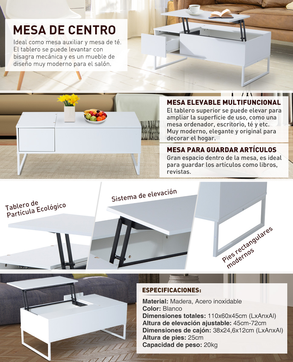 Mesa de centro 110x60x45cm mesita te elevable muebles for Mesa elevable amazon