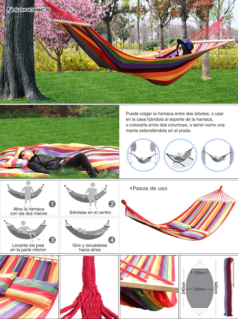 Songmics hamaca con travesa o tela de polialgod n 210 x for Amazon hamacas jardin