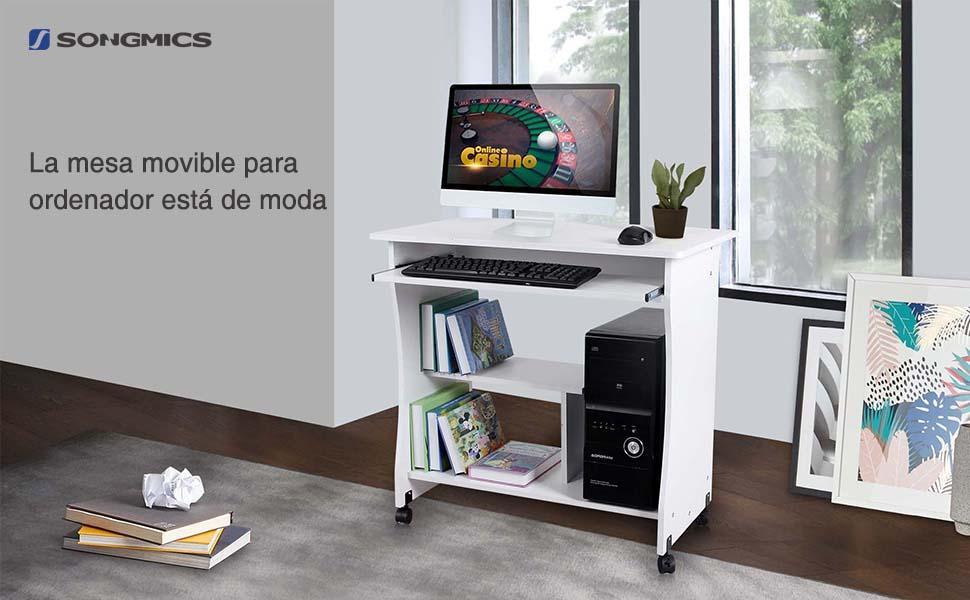 Songmics mesa para ordenador compacta portateclado escritorio para ofina o hogar moderna 80 x - Mesa ordenador pequena ...