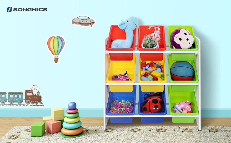 esta songmics estantera de niveles es un prctico mueble infantil proporciona a sus hijos cestas de colores para guardar al alcance de la mano todos