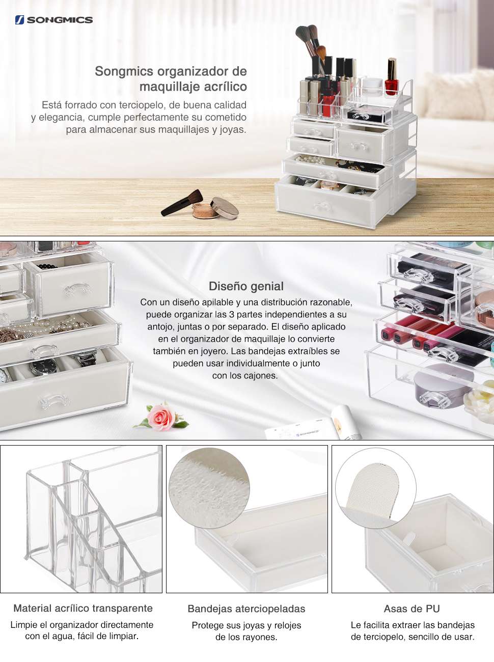 Songmics 2 En 1 Caja Joyero Organizador Para Maquillaje Caja  ~ Organizador De Joyas Para Cajones