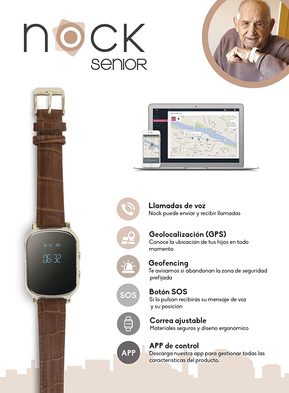 Reloj localizador GPS personas mayores o alzheimer. Nock Senior. Cuida de los tuyos.