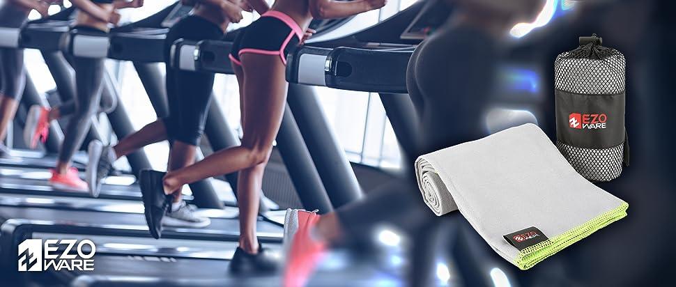 EZOWare Toalla de Microfibra Ultra Suave, con bolsa estuche de viaje - para deportes, gimnasio, yoga, acampar, playa, coche, viajes, visitas
