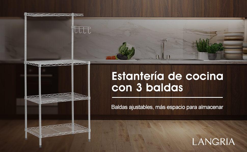 Langria estanter a cl sica para horno microondas con for Repisa para microondas