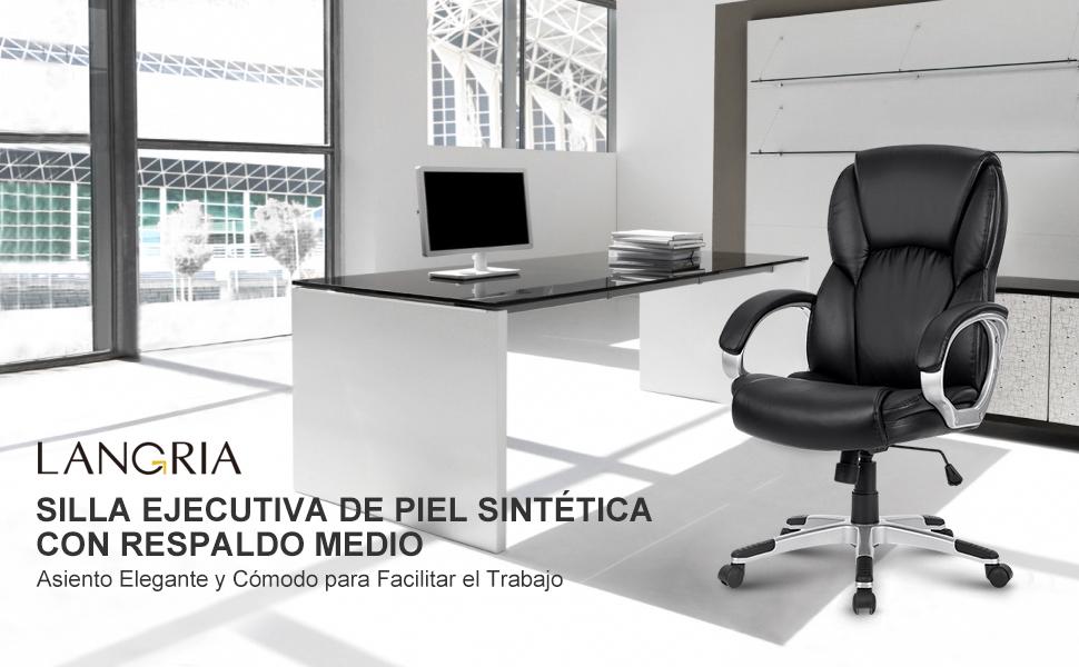 LANGRIA Silla Gaming de Oficina de Modelo Racing de Cuero Sintético ...