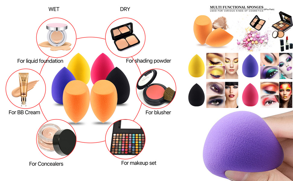 Details about 6pcs Makeup Sponge Blender Set for Liquid Cream Powder  Concealer and Foundation