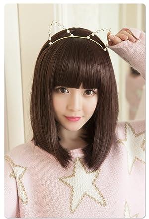 cdf785c5c0daea ... ライトブラウン③サイズ:前髪約16cm、後髪約36~38cm(サイズ調節用のアジャスター付) ④ヘアスタイル:人気の前髪ぱっつんセミロング ボブウイッグです。