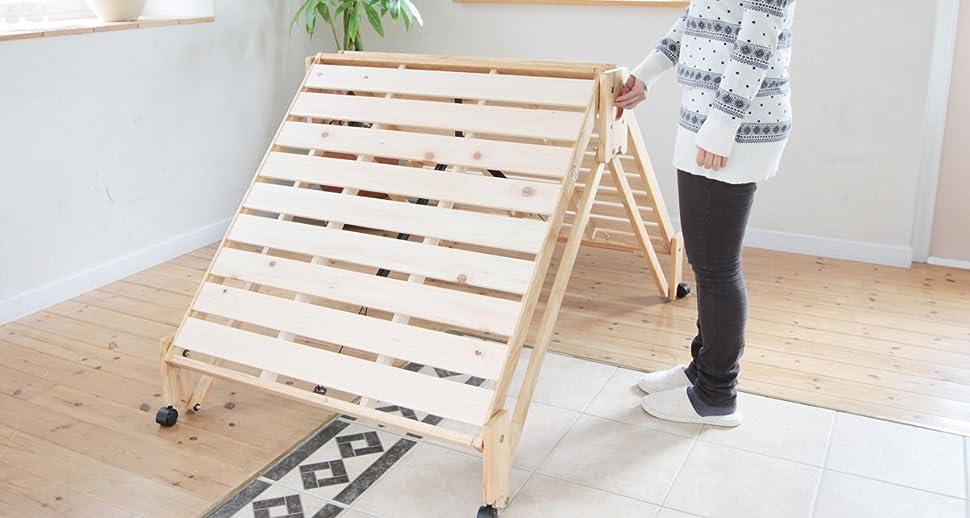 Amazon.co.jp : 広島府中家具 折りたたみ式ひのきすのこベッド シングル