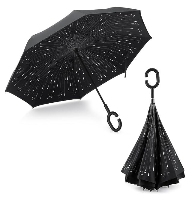 PLEMO 長傘 逆さ傘 逆折り式傘 手離れC型手元 耐風傘 撥水加工 ビジネス用車用 雨の雫 ブラック (107センチ)