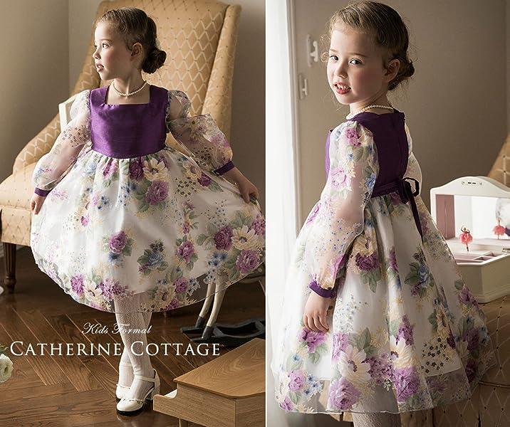 40f0cd9b68798 花柄プリントのオーガンジー生地を、紫のシャンタンで仕立てた、アンティークな趣きの子供ドレスです。 バラにデイジー...さまざまな花が咲き誇るオーガンジーが目を  ...