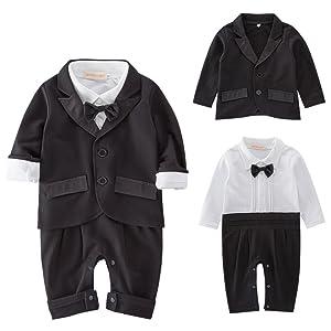 240d28fb85454 シャツ・ズボン・蝶ネクタイがロンパースの一体型。 ジャケット襟部分がサテンで上品な装いに!! フォーマル ですが、生地はストレッチ素材のため、着心地は良いです。