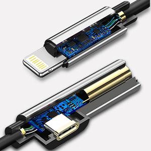 充電アダプター iphoneXライトニング交換ジャック 3.5mm